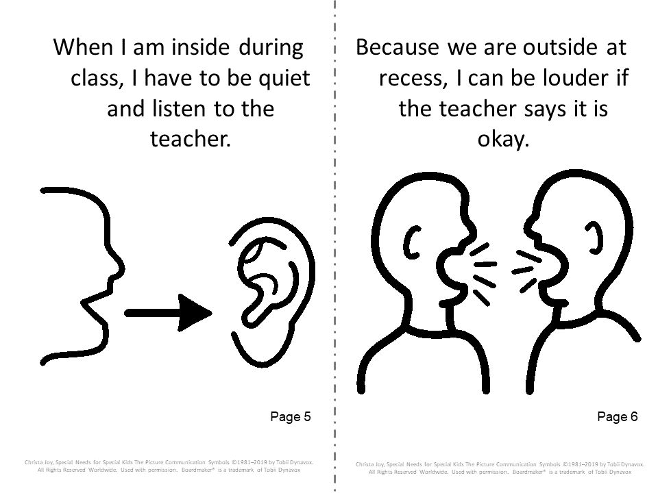 social story for recess booklet