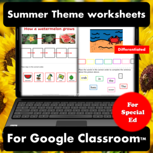 Summer digital worksheets for special education