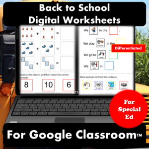 Back to School Digital Worksheets for Special Education | Distance Learning