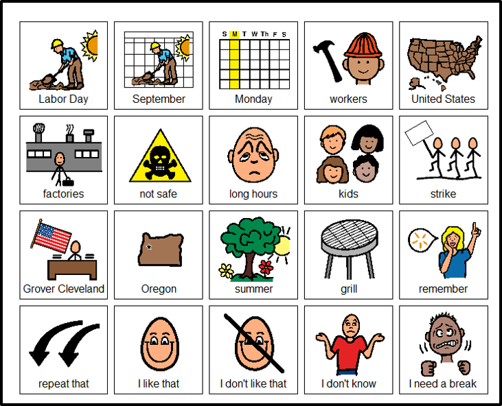 Vocabulary board for Labor day