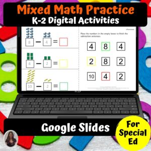 Math Digital Worksheets K-2 Special Ed for Google Classroom | Distance Learning