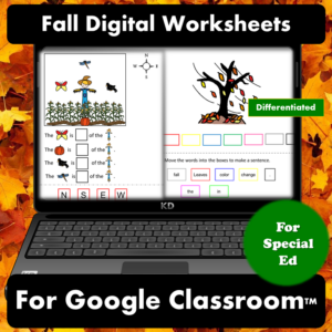 Fall Digital Worksheets for Special Education | Distance Learning