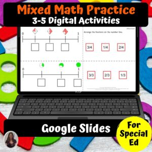 Math Digital Worksheets 3-5 Special Ed for Google Classroom | Distance Learning