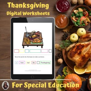 Thanksgiving Digital Worksheets for Special Education | Distance Learning