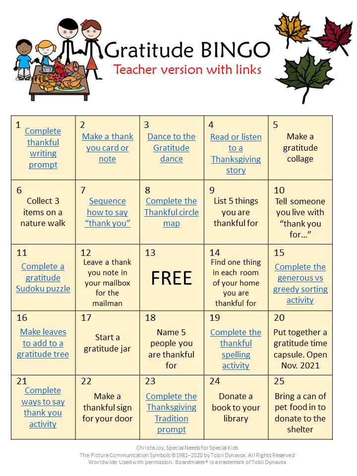 Gratitude BINGO board for teachers