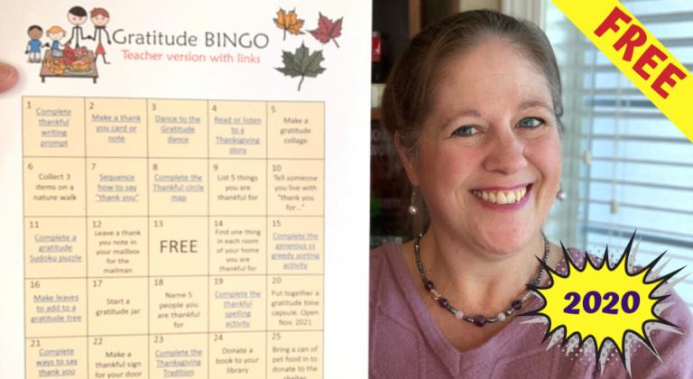 Free Gratitude challenge bingo board