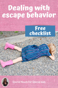 child laying on the ground; a common behavior for escape
