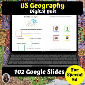 US Geography DIGITAL Unit for Special Education | Distance Learning