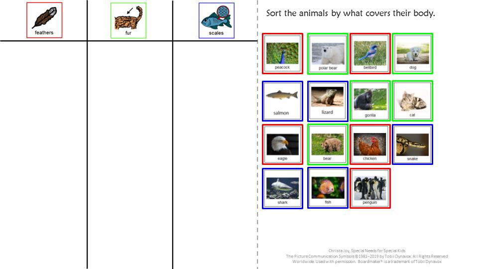 color coded worksheet for google slides