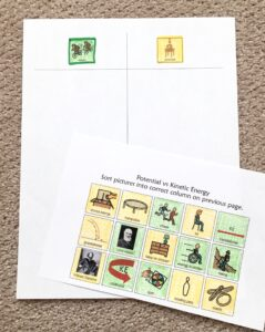 color coded worksheet with pictures filled in