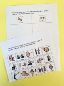 getting the teacher's attention sorting activity