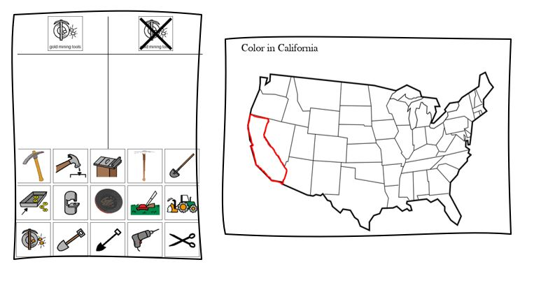 California Gold Rush sorting and map activity