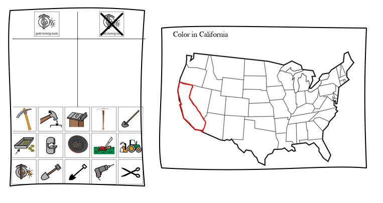 California Gold Rush sorting and map activity