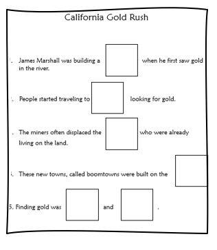 California Gold Rush close worksheet
