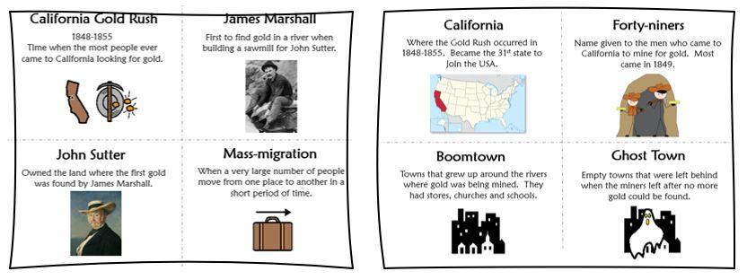 California Gold Rush vocabulary cards