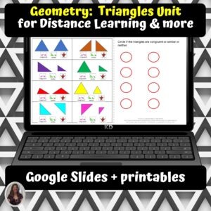 Geometry Triangles Unit for Special Ed for google classroom | Distance learning
