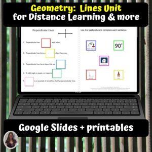 Geometry Lines Unit for Special Ed for google classroom | Distance learning
