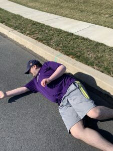 Jimmy laying in the road and refusing to walk