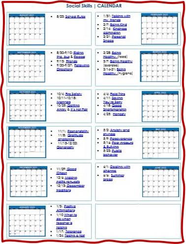 Social skills calendar for 2021-2022